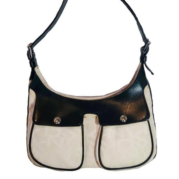Donna Karan Handbags - Donna Karan Textile and Black Leather  Bag